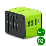 All-In-One World Travel Power Adapter with 4 USB Ports - Green