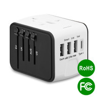 All-In-One World Travel Power Adapter with 4 USB Ports - White