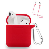 Silicone Protective Case and Anti-Lost Strap for Apple AirPods - Red