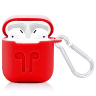 Silicone Protective Case with Carabiner Clip for Apple AirPods - Red