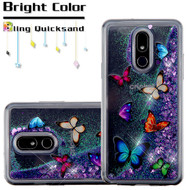 Quicksand Glitter Transparent Case for LG Stylo 5 - Butterfly Dancing
