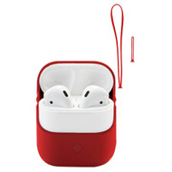 Silicone Protective Case with Hand Strap and Lanyard for Apple AirPods - Red