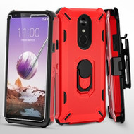 Military Grade Certified Brigade Hybrid Case with Holster and Tempered Glass Screen Protector for LG Stylo 5 - Red