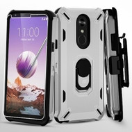 Military Grade Certified Brigade Hybrid Case with Holster and Tempered Glass Screen Protector for LG Stylo 5 - Silver