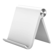 Universal Adjustable Desktop Folding Stand for Tablets and Smartphones - White