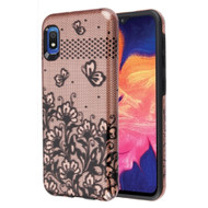Fuse Slim Armor Hybrid Case for Samsung Galaxy A10e - Lace Flowers Rose Gold