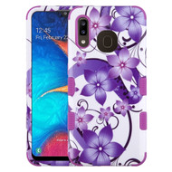 Military Grade Certified TUFF Hybrid Armor Case for Samsung Galaxy A20 - Purple Hibiscus Flower Romance