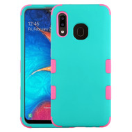 Military Grade Certified TUFF Hybrid Armor Case for Samsung Galaxy A20 - Teal Green Hot Pink