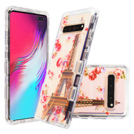 Military Grade Certified TUFF Lucid Transparent Hybrid Armor Case for Samsung Galaxy S10 5G - Paris in Full Bloom