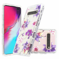Military Grade Certified TUFF Lucid Transparent Hybrid Armor Case for Samsung Galaxy S10 5G - Purple Stargazers