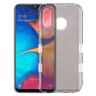 Military Grade Certified TUFF Lucid Transparent Hybrid Armor Case for Samsung Galaxy A20 - Smoke