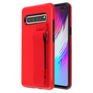 Fuse Slim Armor Hybrid Case with Integrated Hand Strap for Samsung Galaxy S10 5G - Red