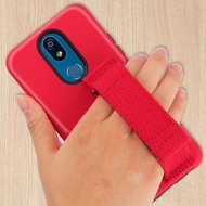 Fuse Slim Armor Hybrid Case with Integrated Hand Strap for LG K40 - Red