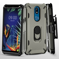 Military Grade Certified Brigade Hybrid Case with Holster and Tempered Glass Screen Protector for LG K40 - Dark Grey