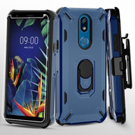 Military Grade Certified Brigade Hybrid Case with Holster and Tempered Glass Screen Protector for LG K40 - Navy Blue