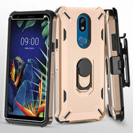 Military Grade Certified Brigade Hybrid Case with Holster and Tempered Glass Screen Protector for LG K40 - Rose Gold