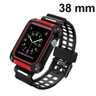 Shock Absorption Rugged Sport Silicone Case with Band for Apple Watch 38mm - Black Red