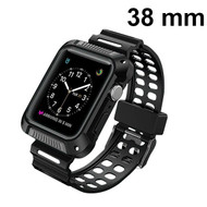 Shock Absorption Rugged Sport Silicone Case with Band for Apple Watch 38mm - Black