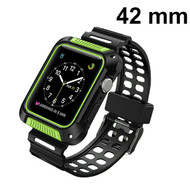 Shock Absorption Rugged Sport Silicone Case with Band for Apple Watch 42mm - Black Green