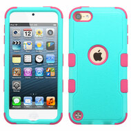 Military Grade Certified TUFF Hybrid Armor Case for iPod Touch (5th, 6th and 7th Generation) - Teal Green Hot Pink