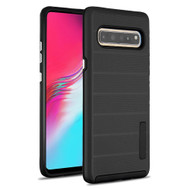 Haptic Dots Texture Anti-Slip Hybrid Armor Case for Samsung Galaxy S10 5G - Black