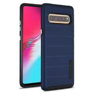 Haptic Dots Texture Anti-Slip Hybrid Armor Case for Samsung Galaxy S10 5G - Navy Blue