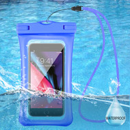 Waterproof Phone Pouch with Neck Lanyard - Blue
