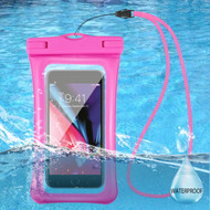 Waterproof Phone Pouch with Neck Lanyard - Hot Pink