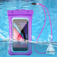 Waterproof Phone Pouch with Neck Lanyard - Purple