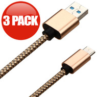 3-Pack Braided Leather Type-C Charge and Sync USB 3.1 Cable - Gold
