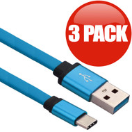 3-Pack Type-C Charge and Sync Tangle-Free Flat USB Cable - Blue