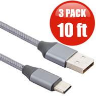 3-Pack Braided Type-C Charge and Sync USB 3.1 Cable - 10 ft. Silver
