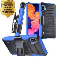 Advanced Armor Hybrid Kickstand Case with Holster and Tempered Glass Screen Protector for Samsung Galaxy A10e - Blue
