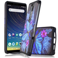 Hybrid Multi-Layer Armor Case for Coolpad Legacy - Blue Butterfly