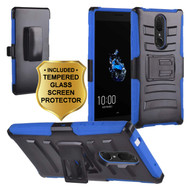 Advanced Armor Hybrid Kickstand Case with Holster and Tempered Glass Screen Protector for Coolpad Legacy - Blue