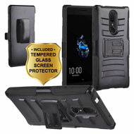 Advanced Armor Hybrid Kickstand Case with Holster and Tempered Glass Screen Protector for Coolpad Legacy - Black