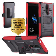 Advanced Armor Hybrid Kickstand Case with Holster and Tempered Glass Screen Protector for Coolpad Legacy - Red