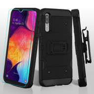 3-IN-1 Military Grade Certified Storm Tank Case + Holster + Tempered Glass Protector for Samsung Galaxy A50 - Black