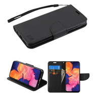 Crossgrain Series Diary Leather Wallet Stand Case for Samsung Galaxy A10e - Black
