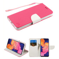 *Sale* Crossgrain Series Diary Leather Wallet Stand Case for Samsung Galaxy A10e - Hot Pink White