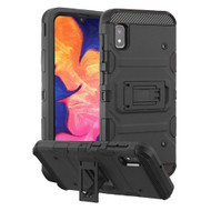 Military Grade Certified Storm Tank Hybrid Armor Case with Stand for Samsung Galaxy A10e - Black
