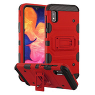 Military Grade Certified Storm Tank Hybrid Armor Case with Stand for Samsung Galaxy A10e - Red