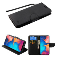 Crossgrain Series Diary Leather Wallet Stand Case for Samsung Galaxy A20 - Black