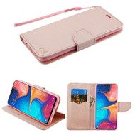 *Sale* Crossgrain Series Diary Leather Wallet Stand Case for Samsung Galaxy A20 - Rose Gold