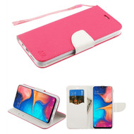 *Sale* Crossgrain Series Diary Leather Wallet Stand Case for Samsung Galaxy A20 - Hot Pink White