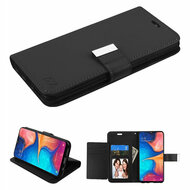 Xtra Series Essential Leather Wallet Stand Case for Samsung Galaxy A20 - Black