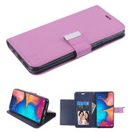 Xtra Series Essential Leather Wallet Stand Case for Samsung Galaxy A20 - Purple