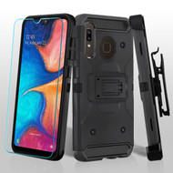 3-IN-1 Kinetic Hybrid Armor Case with Holster and Tempered Glass Screen Protector for Samsung Galaxy A50 / A20 - Black