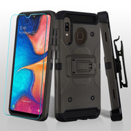 3-IN-1 Kinetic Hybrid Armor Case with Holster and Tempered Glass Screen Protector for Samsung Galaxy A50 / A20 - Grey