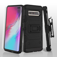 3-IN-1 Military Grade Certified Storm Tank Hybrid Case + Holster + Screen Protector for Samsung Galaxy S10 5G - Black